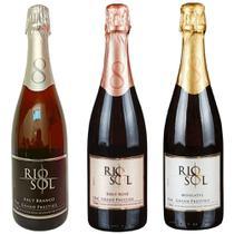 Espumantes Rio Sol Brut Branco, Rosé, Moscatel 750ml-Kit c/3 -