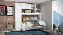 Estação de Dormir Escritório Cama Dreams de Solteiro Multifuncional e Retrátil com Armários Prateleiras Escrivaninha 4 Em 1 Branco - Art In Móveis -