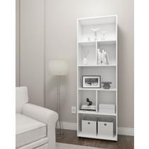 Estante armário livreiro multiuso tita com 04 nichos e 03 prateleiras - drw móveis - branco -