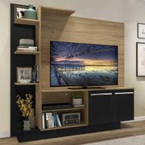 "Estante c/ Painel TV 55"" e 2 portas Denver Multimóveis Rustic/Preto -"