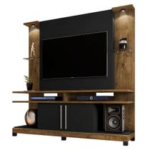 Estante com Rack para TV Genappe Led Madeira Preto Fosco - Bechara