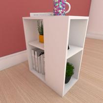 Estante de Livros pequena com prateleira em mdf branco - E-Nichos
