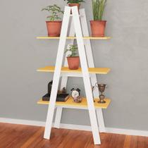 Estante Decorativa Escada Menor Rt 3047 Branco/Amarelo - Movel bento