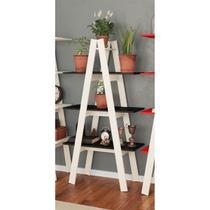 Estante escada 3 prateleiras Branco/Preto MovelBento - Móveis bento