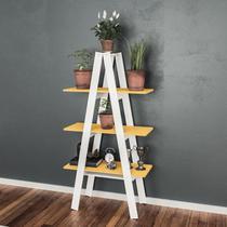 Estante Escada 3 Prateleiras Érica Moderno Movelbento Branco/Amarelo -