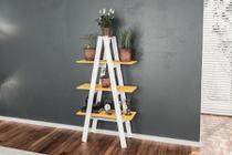 Estante Escada Branco Amarelo 3 Prateleiras Movelbento -