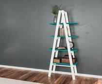 Estante Escada Branco Turquesa 4 Prateleiras Movelbento -