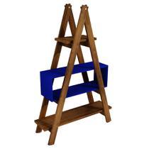 Estante Escada Decor de Madeira 1,50m Azul - Ms design
