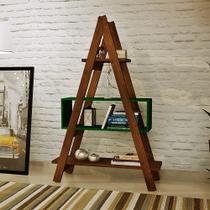 Estante Escada Decor de Madeira Verde - Ms design