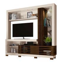 Estante Frizz para TV de até 50 Polegadas com Espelho e Luminária LED Off White Brilho e Savana Fosco Sala de Estar - Madetec -