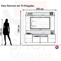 Estante Home DJ Móveis Quadrus para TV 70 Pol 100% MDF Rustico Malbec Off White -