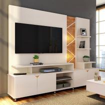 Estante Home para TV até 55 Polegadas com LED Cross Lukaliam Móveis Off White/Amêndoa -