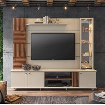 Estante Home para TV até 60 Polegadas com LED 3 Portas Bahamas Permóbili Off White/Savana - Permobili