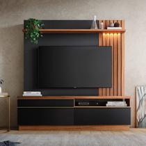 Estante Home para TV até 60 Polegadas com LED Trancoso Colibri Noce Milano/Preto Fosco -