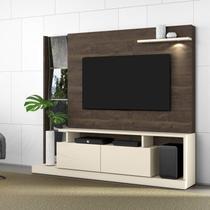 Estante Home para TV até 65 Polegadas 2 Portas Dubai Belaflex Off White/Madero -