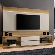 Estante Home para TV até 65 Polegadas com LED 2 Gavetas Paris Siena Móveis Damasco/Off White -