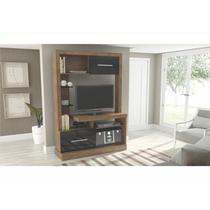 Estante Home Theater E204 com 120 cm Rústico com Preto - Dalla Costa