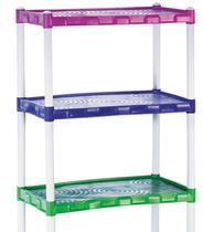 Estante Modular Em Plástico Com 3 Prateleiras Colorida - Agraplast