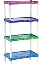 Estante Modular Em Plástico Com 4 Prateleiras Colorida - Agraplast