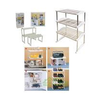 Estante multifuncional 3 em 1 sapateira com 3 prateleiras livros quarto cozinha organizador ampliave - Makeda