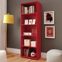 Estante Multy para Livros e Objetos Vermelho com 4 Prateleiras e 1 Nicho - Artely -