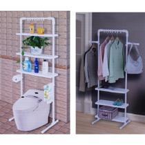 Estante organizador banheiro vaso sanitario prateleira ajustavel arara de roupas multifuncional - MAKEDA