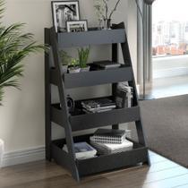 Estante Organizadora Life com 4 Prateleiras - Carbono Trama - Be mobiliário