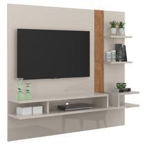 Estante Painel Cross Off White / Amêndoa TV 50 Polegadas - Lukaliam móveis