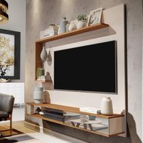 Estante Painel Para TV até 50 Polegadas Allune Móveis Germai Off White / Freijó - Móveis  Germai
