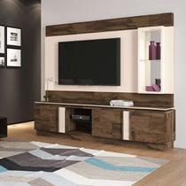 Estante para Home Theater e TV até 70 Polegadas Vértice Marrom Deck e Off White - Hb móveis