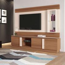 Estante para Home Theater e TV até 70 Polegadas Vértice Marrom Nature e Off White - Hb móveis