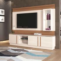 Estante para Home Theater e TV até 70 Polegadas Vértice Off White e Marrom Nature - Hb móveis
