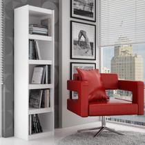 Estante para Livros 4 Prateleiras BL13 06 Frame Moderno BRV Móveis Branco -