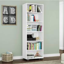 Estante para Livros 5 Prateleiras Office Móveis Leão Branco Texturizado -