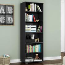 Estante para Livros 5 Prateleiras Office Móveis Leão Preto Texturizado -