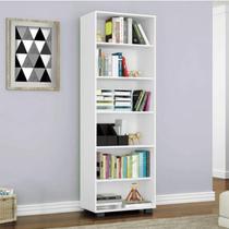 Estante para Livros 5 Prateleiras Veneza Euro Office Siena Móveis Branco Texturizado -