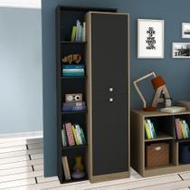Estante para Livros 70 cm 2 Portas Avelã Tx/Onix Tx - Hecol moveis