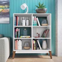 Estante para Livros Baixa 4 Prateleiras 0807 Retrô Genialflex Branco -
