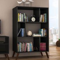 Estante para Livros com Nichos Retrô RT 3015 - Preto - Movel Bento