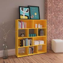 Estante para Livros e Objetos Amarelo com 10 Nichos - Artely -