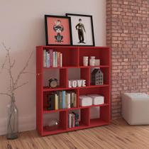 Estante para Livros e Objetos Vermelho com 10 Nichos - Artely -