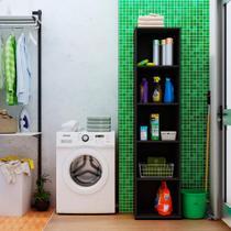 Estante para Livros Madeira 5 Prateleiras Clean Artany Preta -