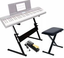 Estante Para Teclado Ou Piano Q1B + Banco Piano Q90 Mellody + Pedal Sustain Tb100 Gold Mellody - M Ellody