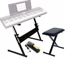 Estante Para Teclado Ou Piano Q1B + Banco Piano Q90 Mellody + Pedal Sustain Tb100 Gold Mellody -