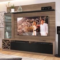 """Estante para TV Até 50"""" 2 Portas 2021 Mn/Ptx Montana/Preto - Quiditá móveis"""
