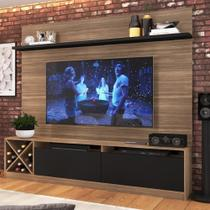 """Estante para TV Até 50"""" 2 Portas 2023 Mn/Ptx Montana/Preto - Quiditá móveis"""