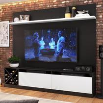 """Estante para TV Até 50"""" 2 Portas 2023 Ptx/Bac Preto/Branco - Quiditá móveis"""