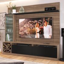 """Estante para TV Até 60"""" 3 Portas 2020 Mn/Ptx Montana/Preto - Quiditá móveis"""