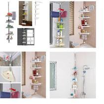 Estante prateleira ajustavel para canto de parede cozinha banheiro telescopica organizador de chao l - Makeda