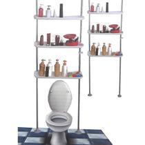 Estante suporte organizador de banheiro lavanderia com 3 prateleiras telescopico ate 3,05cm ajustavel do chao a parede profissional - MAKEDA